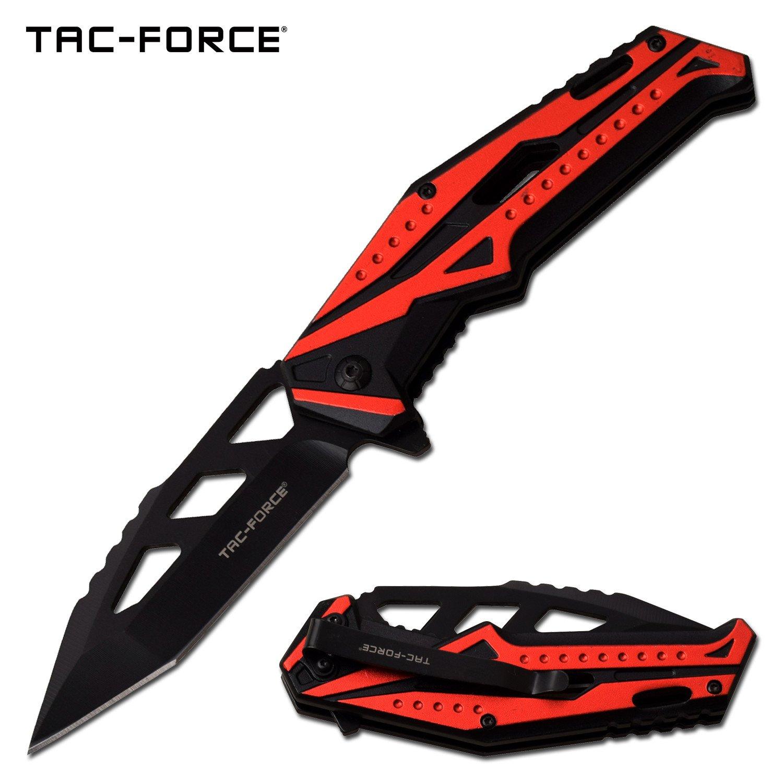 Spring Assisted KNIFE EDC Pocket KNIFE Black Red Aluminum Handle