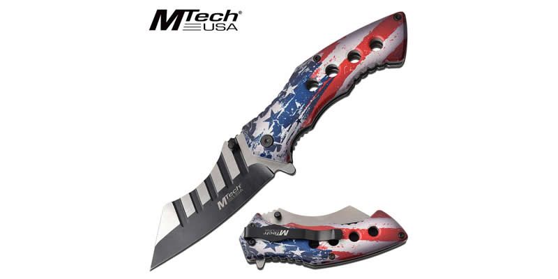 Mtech Cleaver Knife Spring Assisted Knife USA