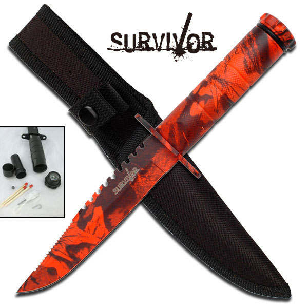 ''8.5'''' Red Camo  Overall SURVIVAL KNIFE With SURVIVAL Kit''