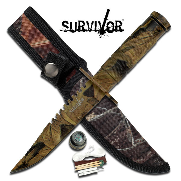 9.5 Inch SURVIVAL KNIFE with Sheath and SURVIVAL Kit