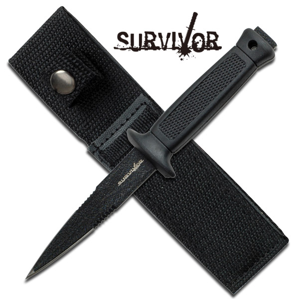 ''6.5'''' Fixed Blade Black Boot Dagger Knife with Sheath''