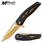 Pocket Knife by Mtech Spring Assisted Knife Tinite Gold Blade
