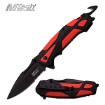 Mtech Tactical Pocket Knife Spring Assisted Knife Black Red Handle