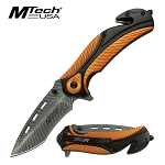 Mtech Etched Blade Spring Assisted Knife Orange Tactical Pocket Knife