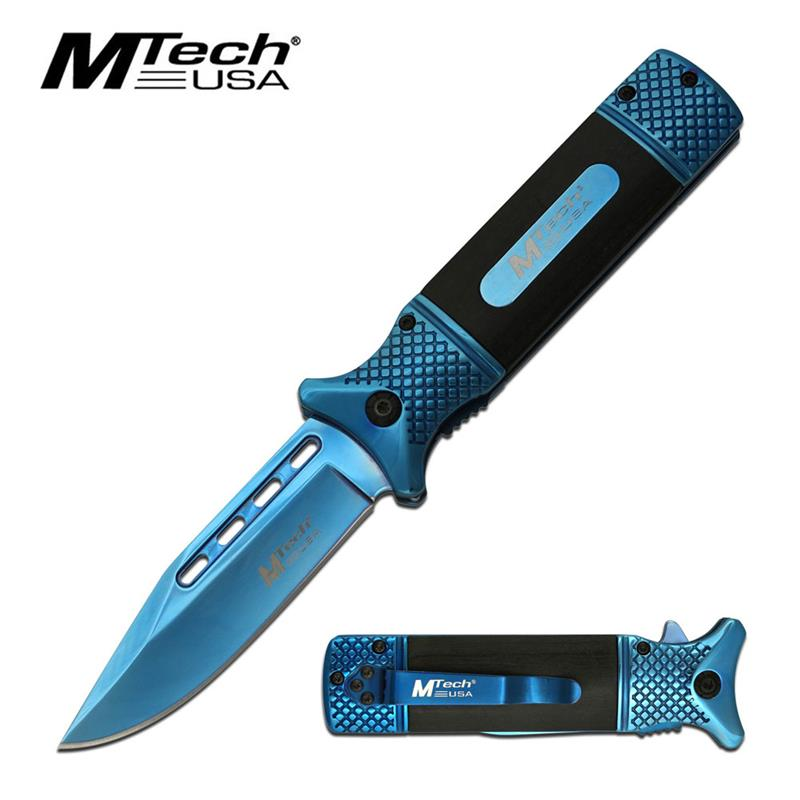 Mtech USA Pakka Wood Spring Assisted Knife Blue