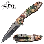 Cool Pocket Knife Spring Assisted Knife Green Camo ABS Handle