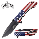 USA Flag Handle Pocket Knife Spring Assisted Knife