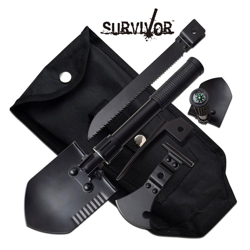 Survival Camping 5 in 1 Outdoor Tool Saw Shovel Axe HAMMER Spear