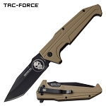 Tac Force Punisher Tanto Blade Pocket Knife Spring Assisted Knife Tan
