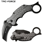Pocket Knife Gray Karambit Hawk Bill Blade Spring Assisted Knife