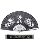 Metal Frame Kung Fu Fighting Fan - Yin Yang Dragons - Black