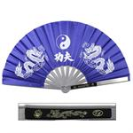 Metal Frame Kung Fu Fighting Fan - Yin Yang Dragons - Blue