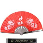Metal Frame Kung Fu Fighting Fan - Yin Yang Dragons - Red