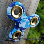 Hand Finger Spinner Blue Camo Stress Relief Tri Fidget High Speed