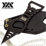 Day Zero Survival Black Bottle Opener Neck Knife Dagger with Kydex Sheath