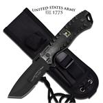 US Army Strong Black 6MM Thick Full Tang Fixed Blade Knife - Black