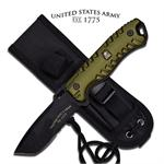 US Army Strong Black 6MM Thick Full Tang Fixed Blade Knife - Green