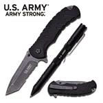 Official US Army Folding Knife and LED Light Tactical Self Defense Pen - Black Finish in a Gift Box