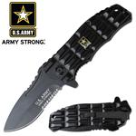 US Army Official Medallion Spring Action Assisted Folding Knife - Black