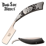 Dark Side Blades Straight Razor Knife Gray Skull Handle