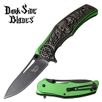 Green Pirate Skull Handle Fantasy Spring Assisted Folding Pocket Knife