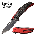Red Pirate Skull Handle Fantasy Spring Assisted Folding Pocket Knife