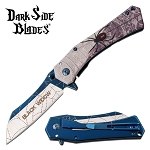 Black Widow Spider Fantasy Spring Assisted Folding Pocket Knife Blue Blade