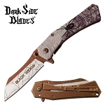 Black Widow Spider Fantasy Spring Assisted Folding Pocket Knife Bronze Blade