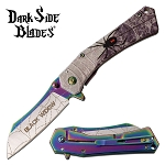 Black Widow Spider Fantasy Spring Assisted Folding Pocket Knife Rainbow Blade
