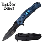 Blue Dragon Eye Spring Assisted Pocket Knife Blue Handle