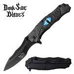 Blue Dragon Eye Spring Assisted Pocket Knife Gray Handle