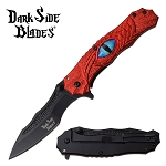 Blue Dragon Eye Spring Assisted Pocket Knife Red Handle