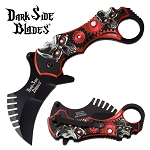 Tactical Karambit Spring Assisted Pocket Knife Red Skull Handle