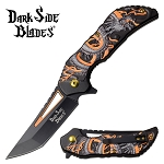 Dragon Pocket Knife Spring Assisted Knife Orange Dragon Handle