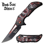 Dragon Pocket Knife Spring Assisted Knife Red Dragon Handle