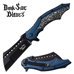 Fantasy Skulls Pocket Knife Spring Assisted Knife Blue Handle