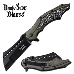Fantasy Skulls Pocket Knife Spring Assisted Knife Gray Handle