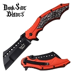 Fantasy Skulls Pocket Knife Spring Assisted Knife Red Handle