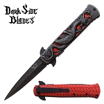 Dragon Pocket Knife Stonewashed Spring Assisted Knife Red Dragon