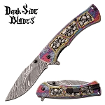 Pocket Knife Gray Skulls Spring Assisted Knife