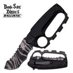 Dark Side Blades Black Knuckle Handle Tactical Spring Assisted Knife 2 Tone Blade