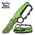 Dark Side Blades Green Stripes Blade Knuckle Handle Tactical Spring Assisted Knife