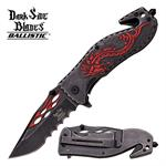 Dark Side Blades Stone Wash Finish Spring Assisted Folding Knife - Red Dragon