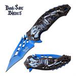 Dark Side Blades Skull and Spider Spring Assisted Folding Knife Blue