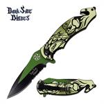 Dark Side Blades Tactical Skull Handle Spring Assisted Knife Green