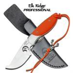Elk Ridge Professional 6.83 Inch Fixed Blade Knife - Orange G10 Handle