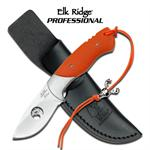 Elk Ridge Professional 7 Inch Drop Point Fixed Blade Hunting Knife - Orange G10 Handle