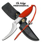 Elk Ridge Professional 7.8 Inch Hunting Skinning Knife - Orange G10 Handle