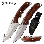 Elk Ridge 2 Hunting Knife Set Fixed Blade and Folding Knives Pakkawood