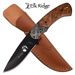 8 Inch Fixed Blade Hunting Knife Brown Pakkawood Handle